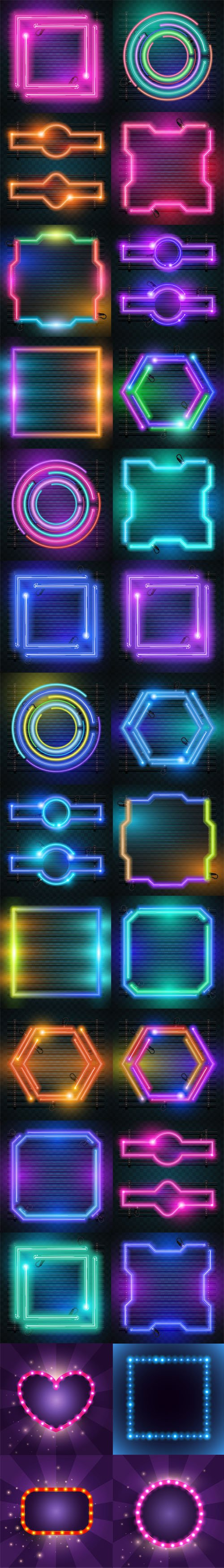 Neon Backgrounds Vector Collection