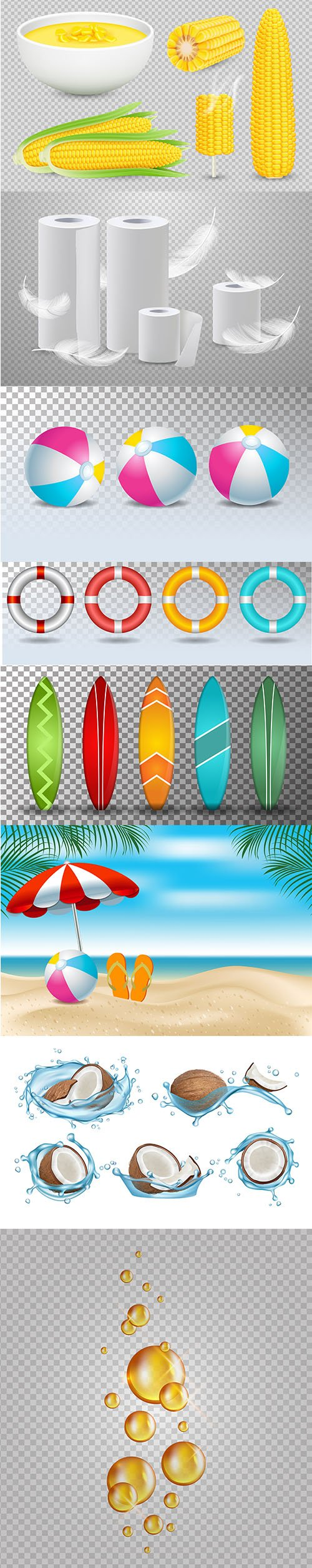 Realistic Isolated Object and Summer Vector Illustrations