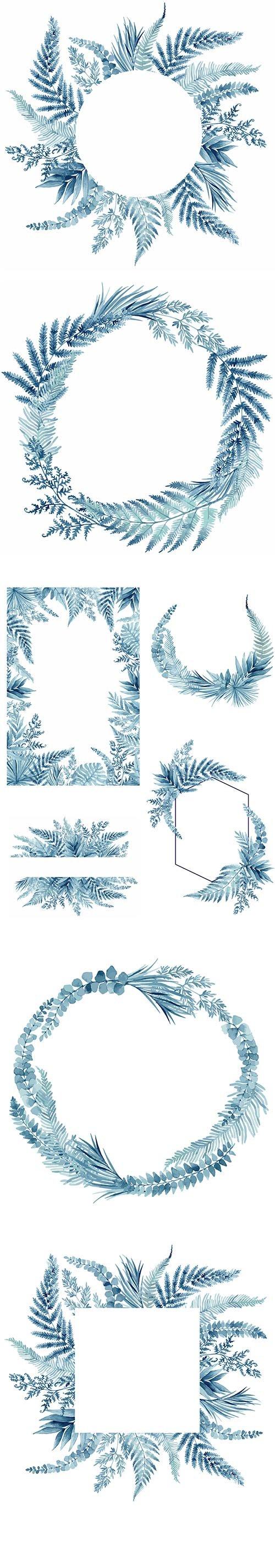 Blue Fern Leaves Tropical Frame Vector