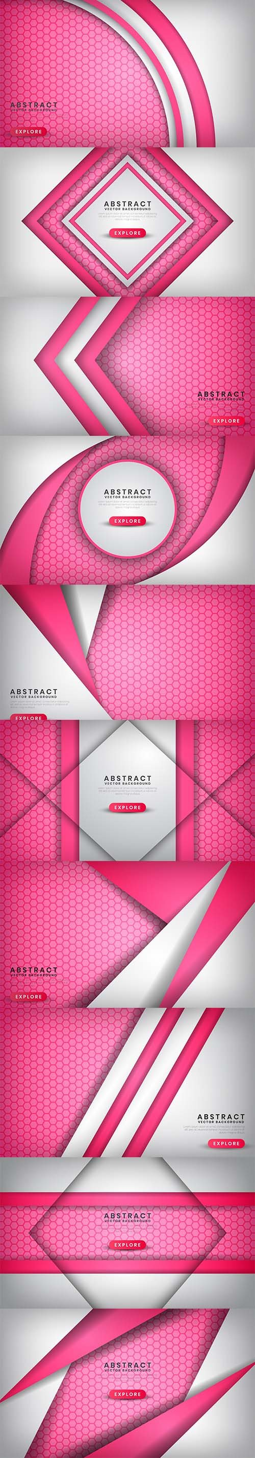 Abstract Luxury White Pink Background with Hexagon Vector Patterns