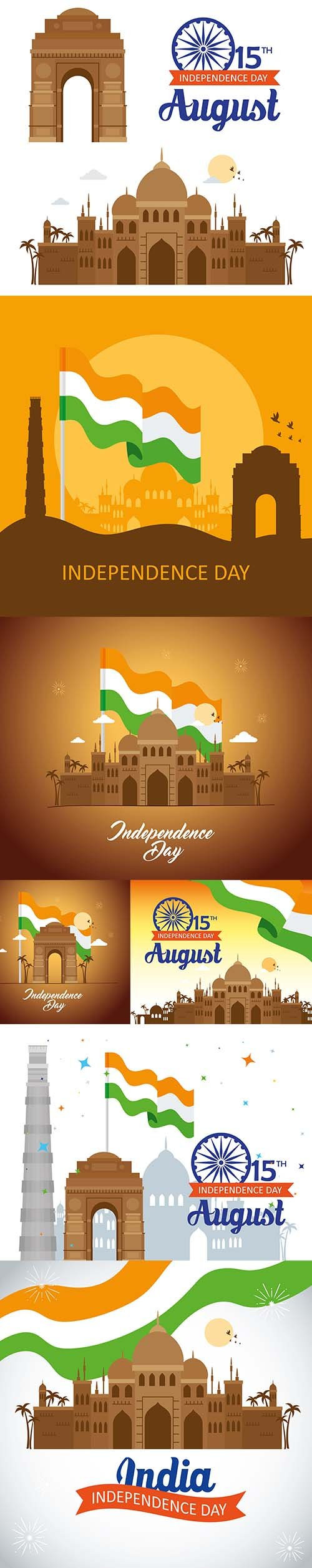 India Happy Independence Day Celebration Vector