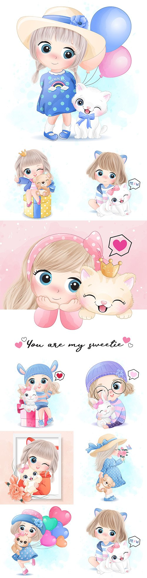 Little sweet girl with animals and flowers illustrations