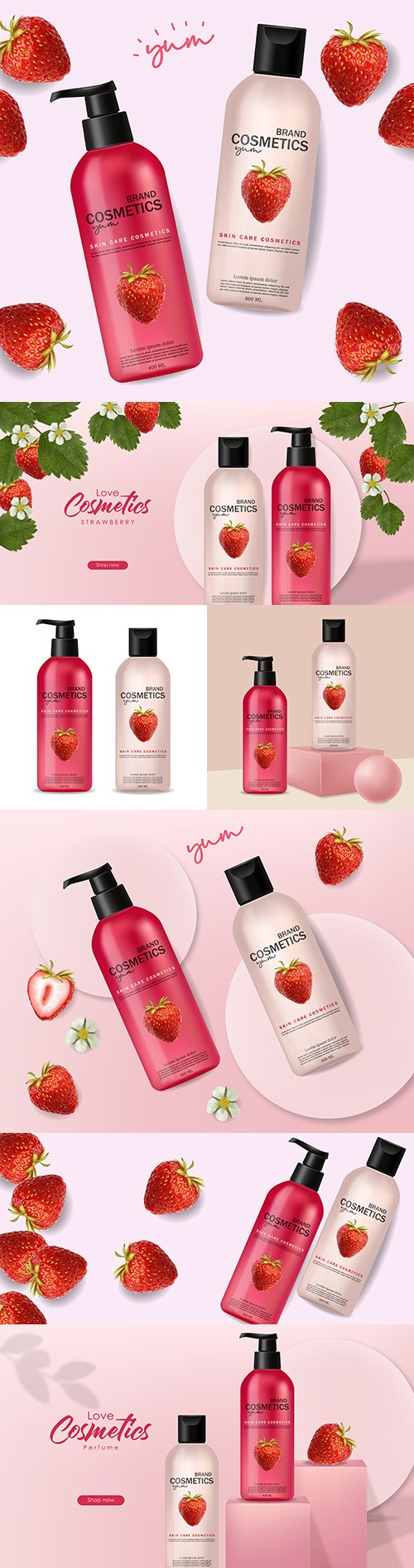 Fruit cosmetics for body care realistic illustrations 3