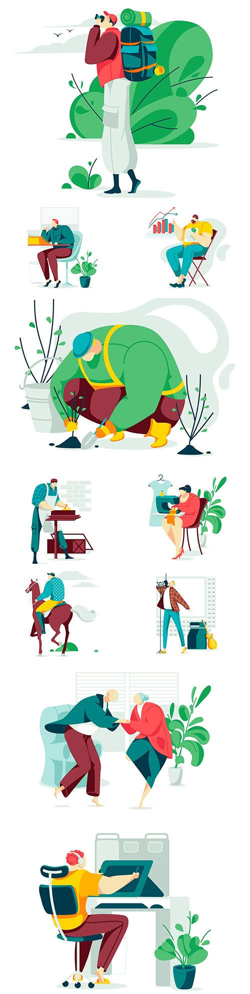 People of different professions and lifestyle flat design