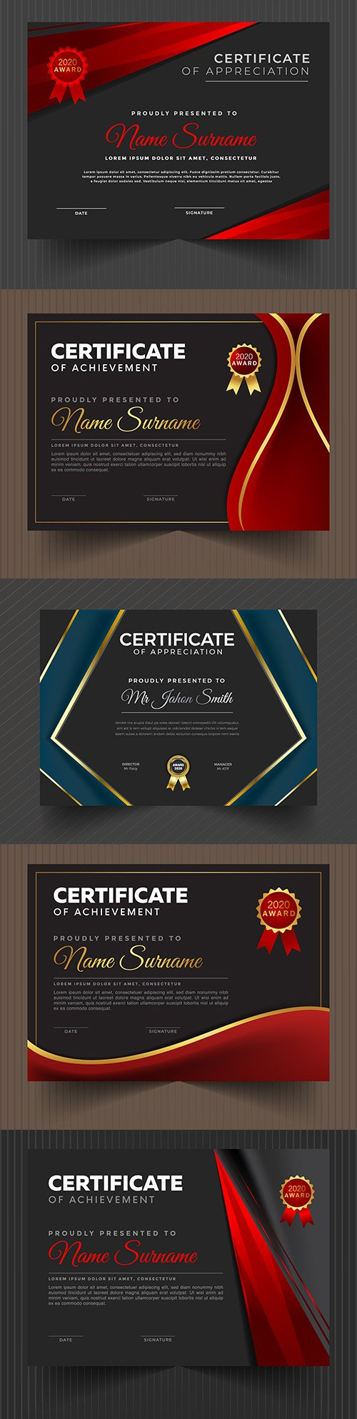 Certificate achievement template design collection 3