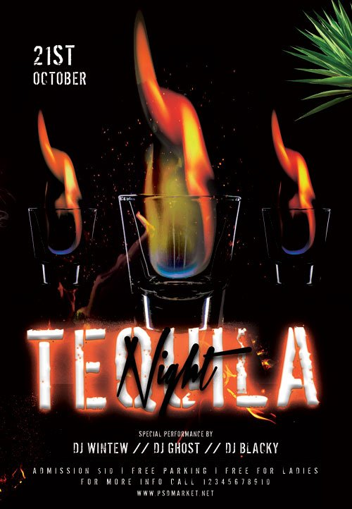 Tequila night - Premium flyer psd template
