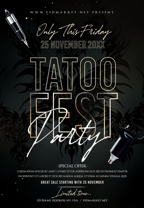 Tattoo fest party - Premium flyer psd template
