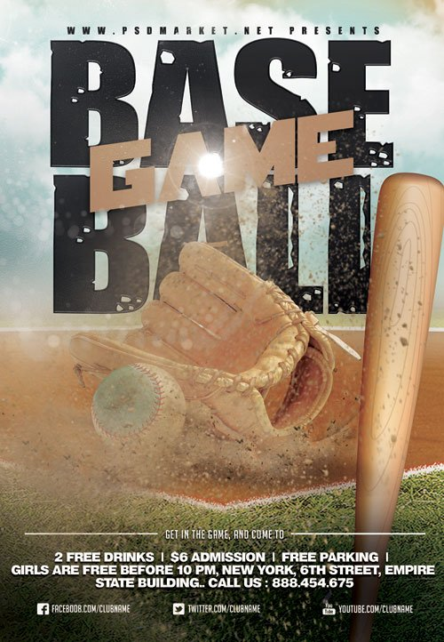 Baseball game event - Premium flyer psd template