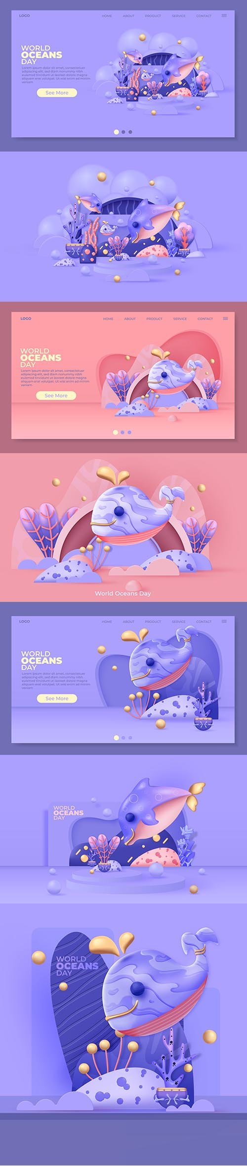 World oceans day illustration for landing page
