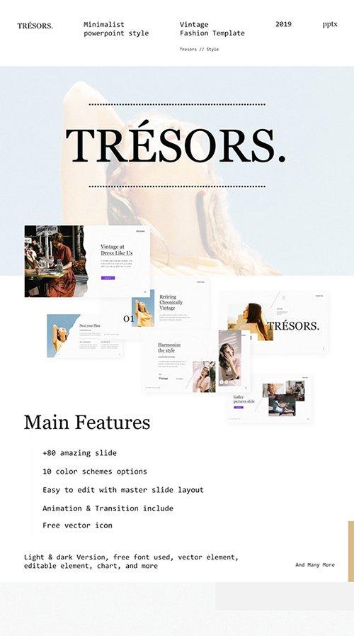 Tresors Multipurpose Creative Vintage & Minimalist PowerPoint Presentation template 25178758