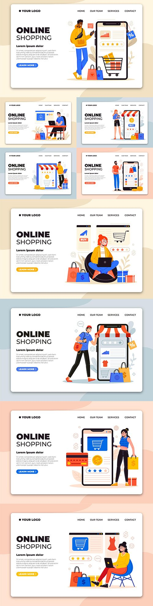 Shopping online on mobile app landing page concept
