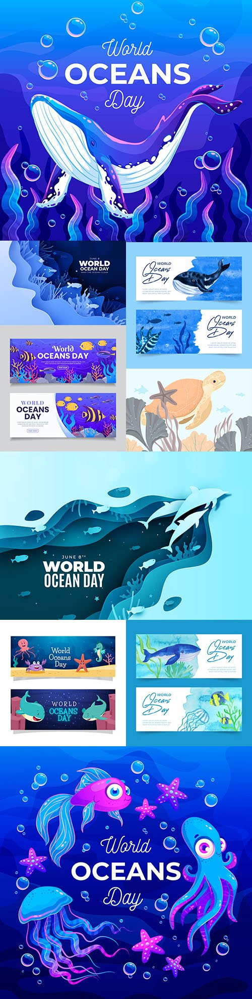 World ocean day with marine dwellers cartoon illustrations