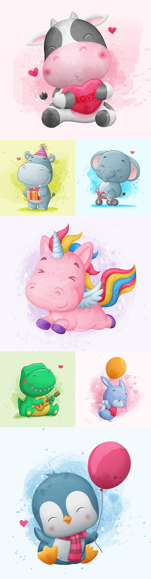 Watercolor illustrations cute cartoon animals with balloons
