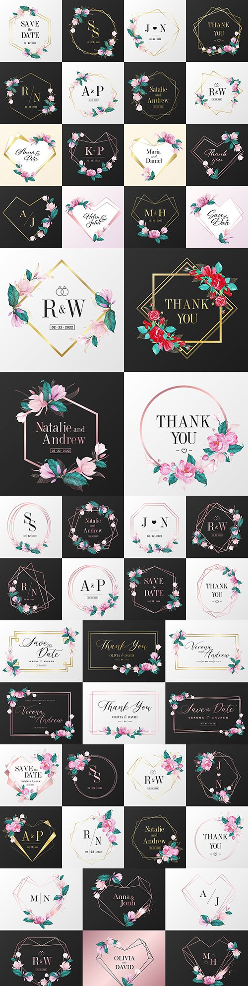 Monogram with flowers wedding watercolor logo with gold frame
