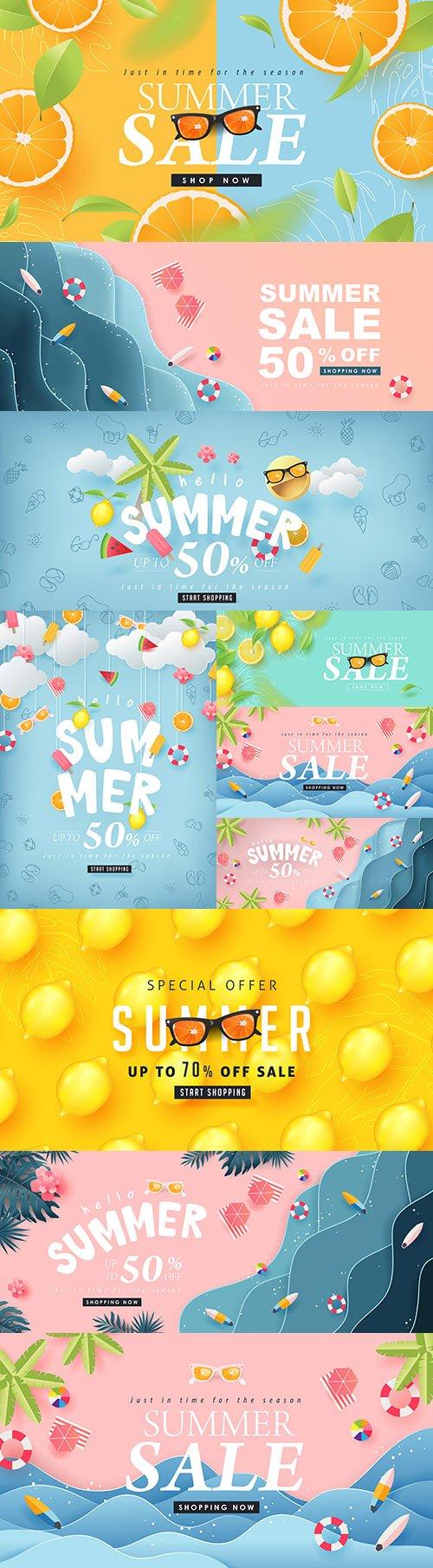 Summer sale design tropical fruit and sea beach
