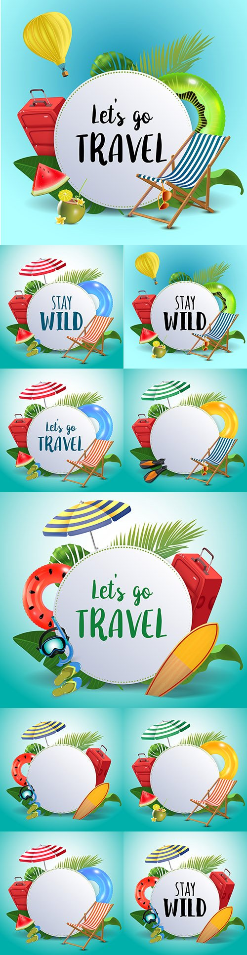 Nature summer travel landscape with holiday accessories