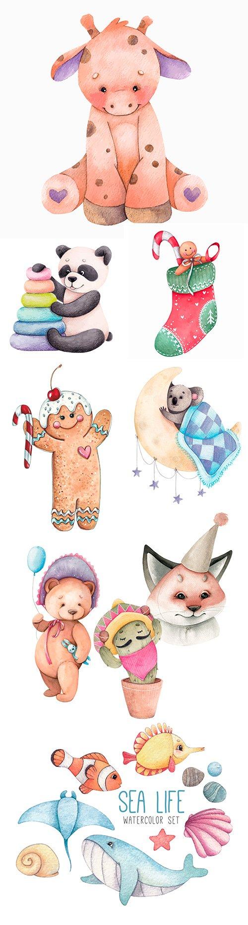 Watercolor illustrations cute cartoon animals in different caps
