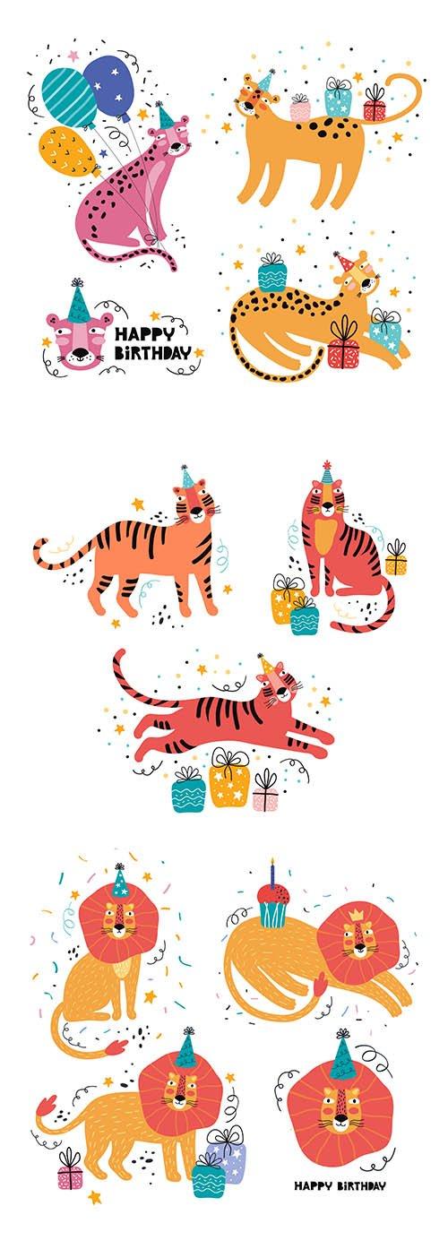 Happy Birthday Funny Jungle Animal Party Wild Animal Hand-Drawn Illustration