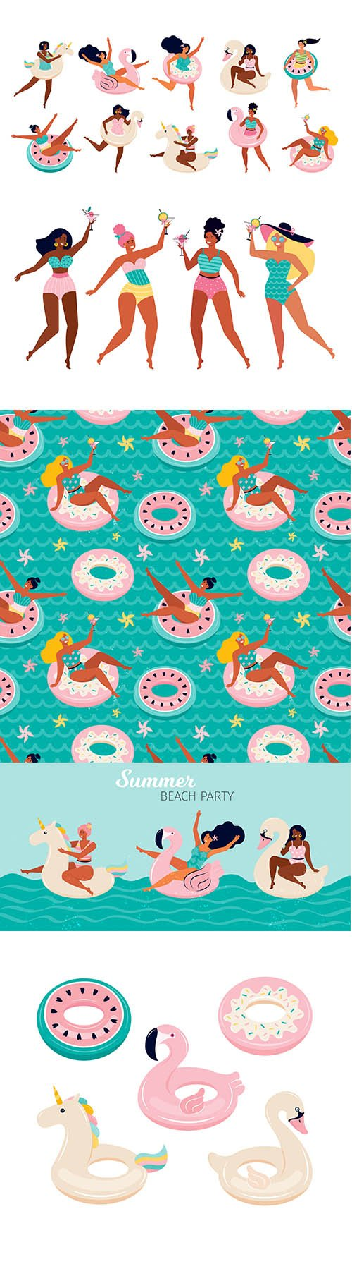 Set of Swimming Toys and Beach Party Happy Women