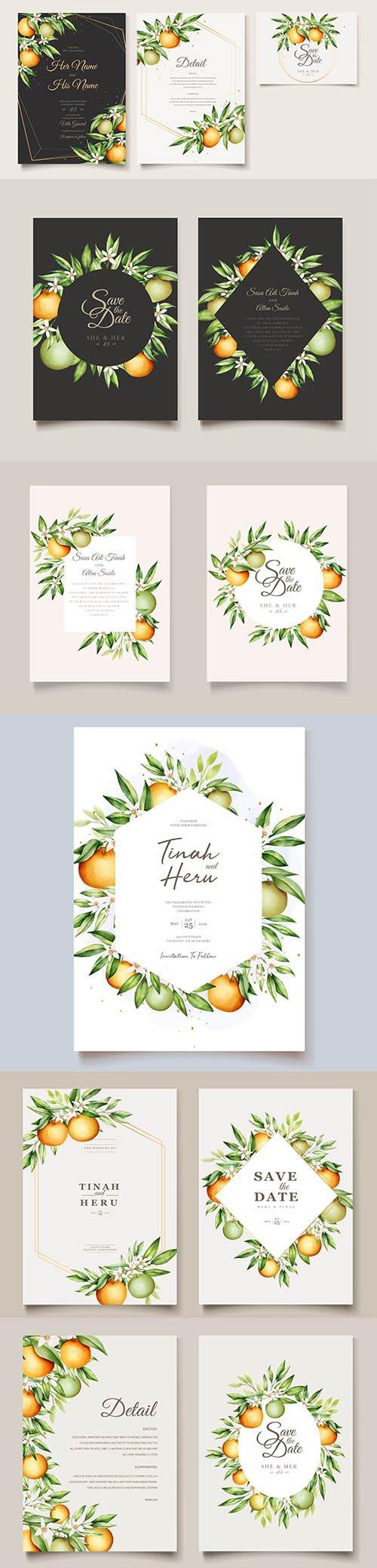 Botanical Watercolor Wedding Invitation Card Template
