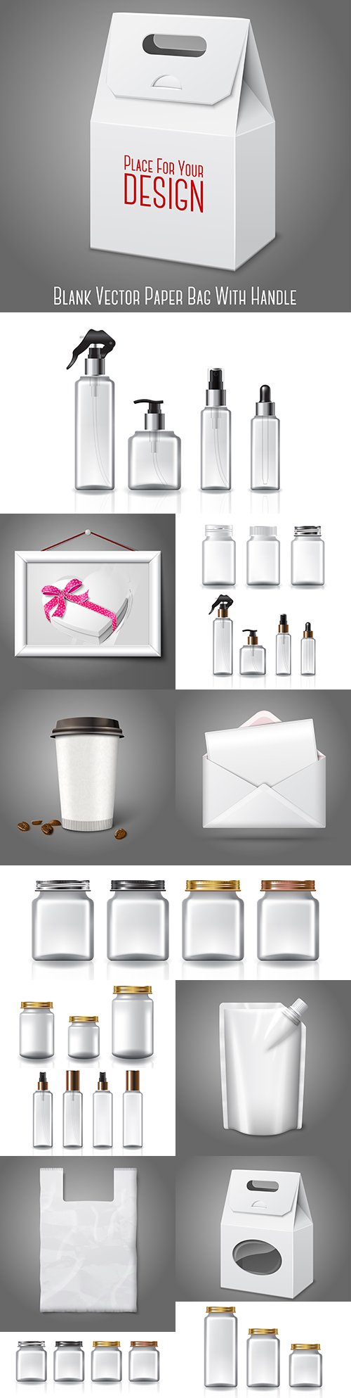 Cardboard and plastic packaging and bottle illustration templates