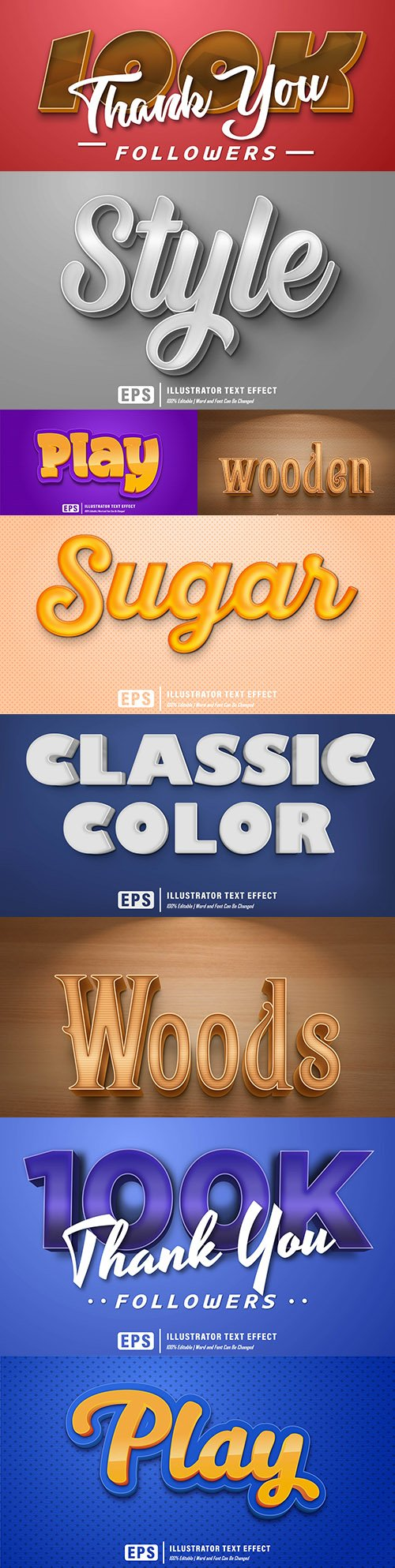 Editable font effect text collection illustration design 131