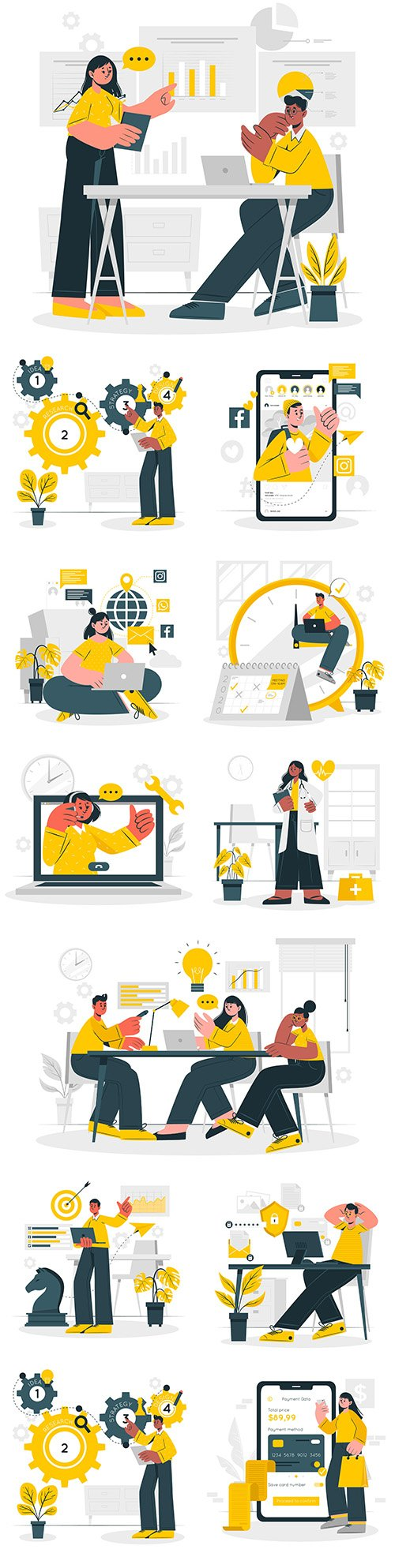 Business people and office work concept flat illustration