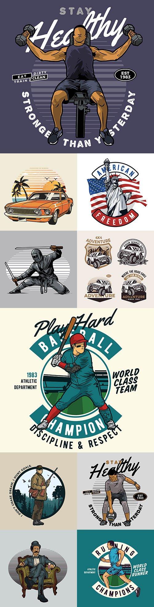 Vintage emblem sport and hobby drawing illustration