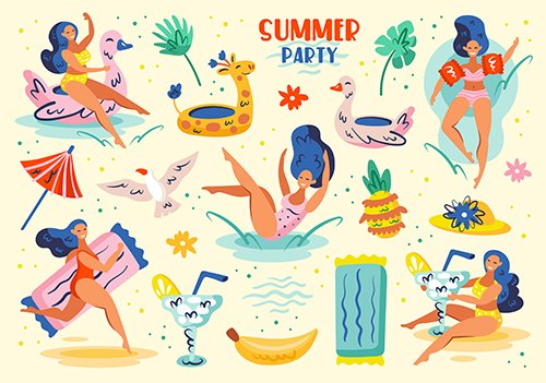 Summer Party Illustration Set