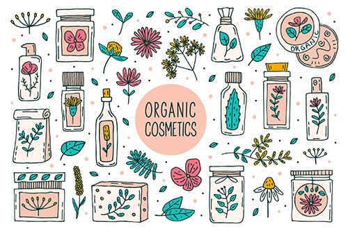Natural Organic Cosmetics with Plants Doodle Clipart