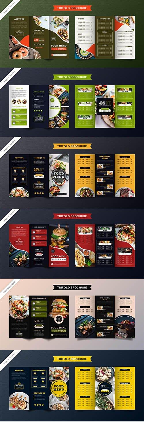 Food Trifold Brochure Template Menu Restaurant