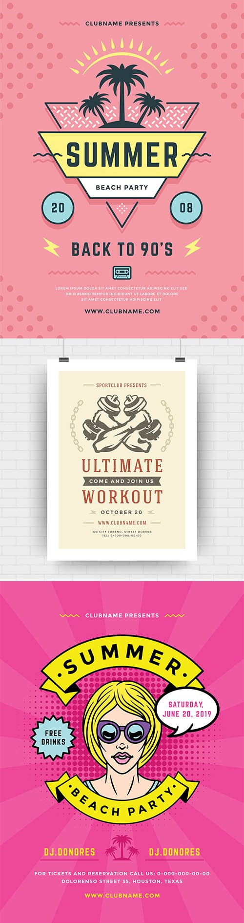 Summer Beach Party Flyer and Fitness Center Poster Template