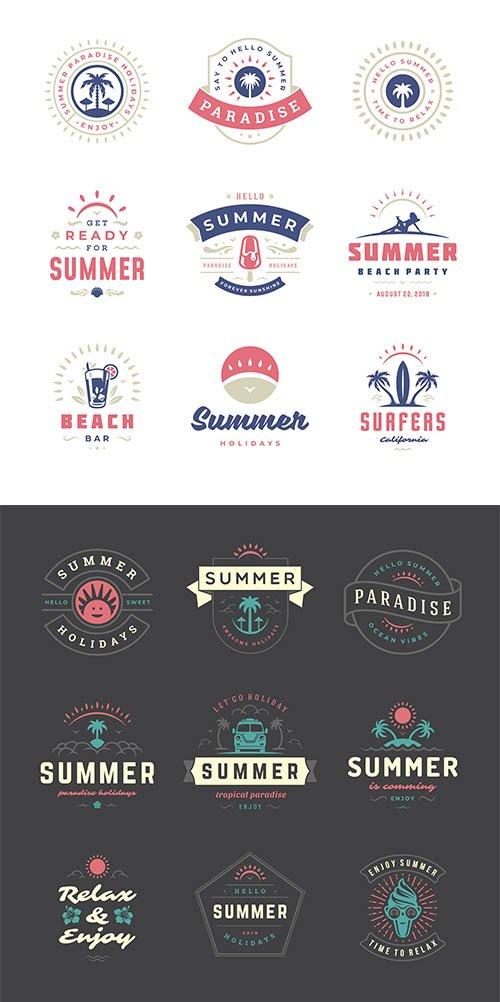 Summer Holidays Labels Badges Retro Typography Set