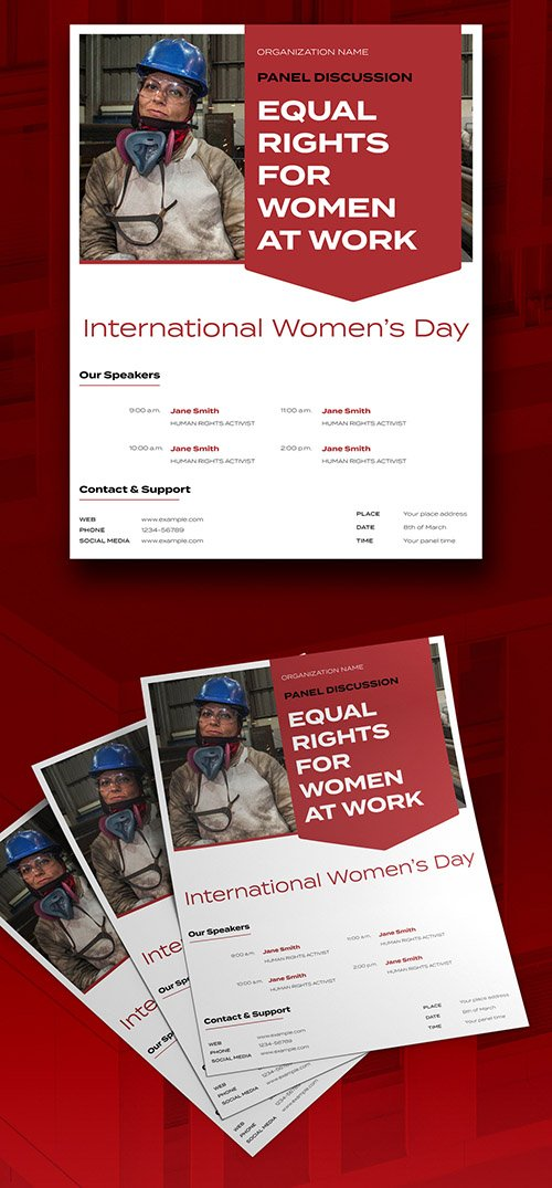 Red Women's Day Flyer Layout 328155856