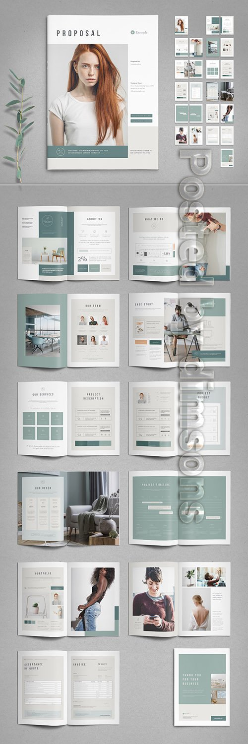 Mint and White Proposal Layout with Pale Peach Accents 328131621