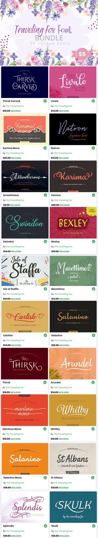 Traveling Fox Font Bundle - 20 Premium Fonts Collection