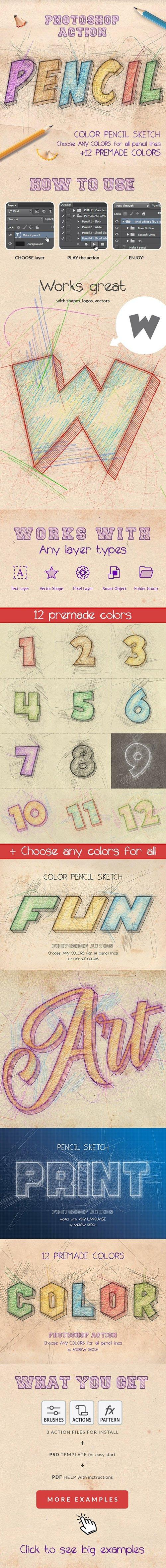 GraphicRiver - Color Pencil Sketch - Photoshop Actions 27194012