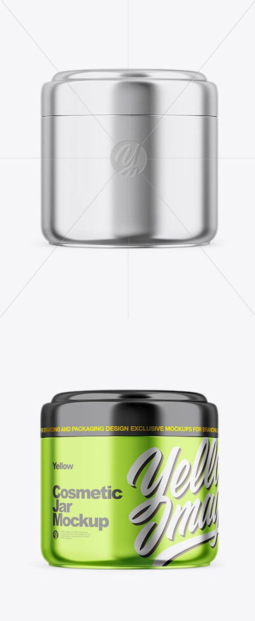 Metallic Cosmetic Jar Mockup 61265