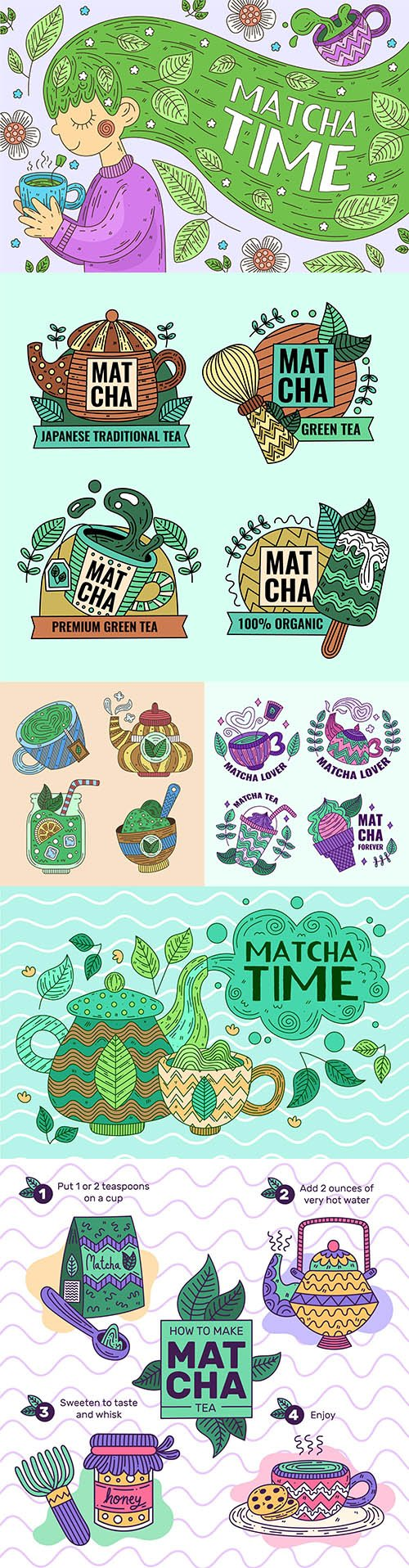 Delicious desserts and green tea match illustration