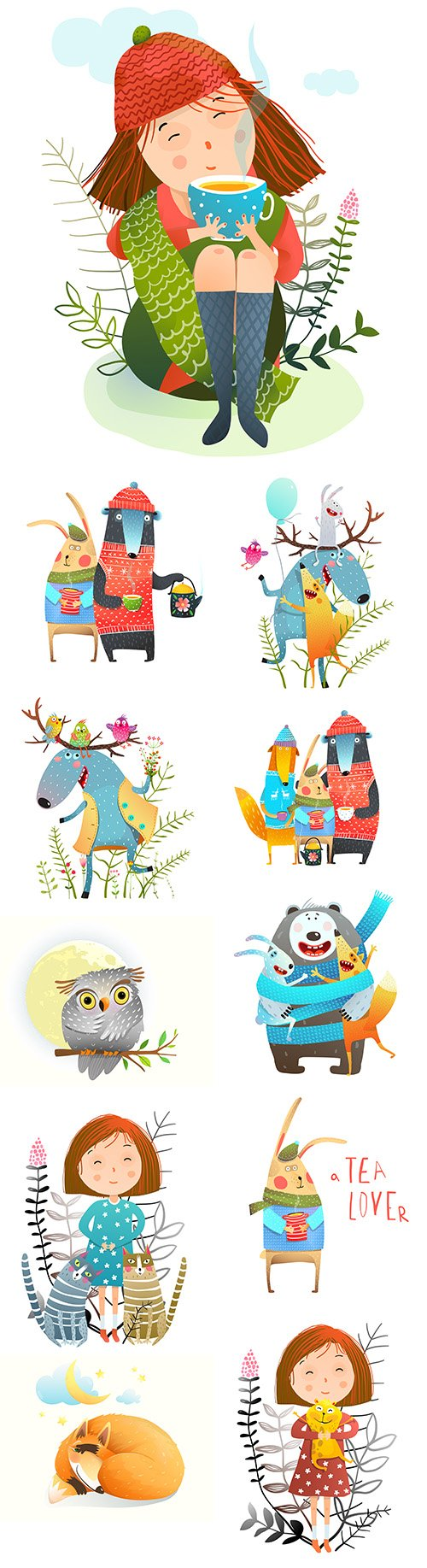 Little girl and various animals drawn illustrations