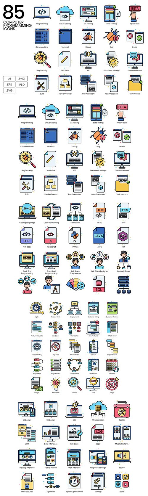 85 Computer Programming Line Icons