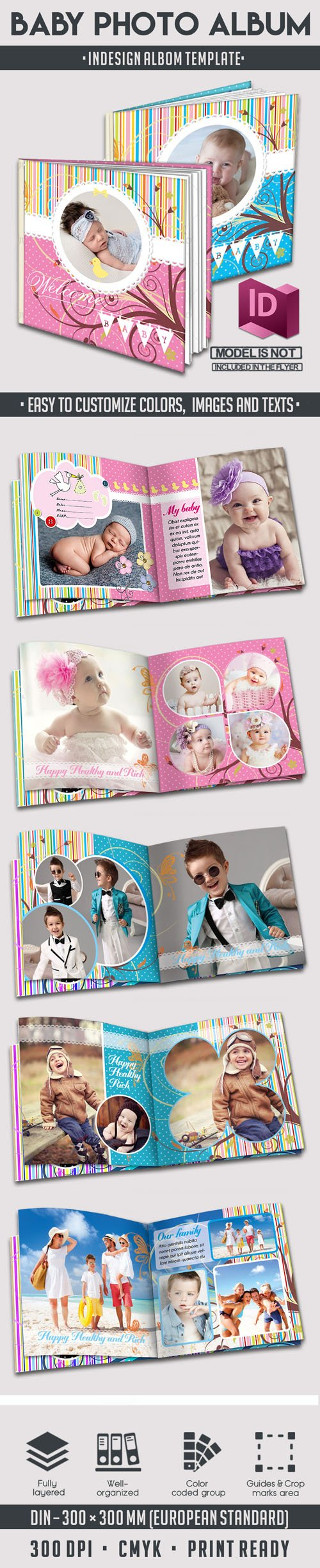 Baby Photo Album - InDesign INDD Templates - 12 Pages