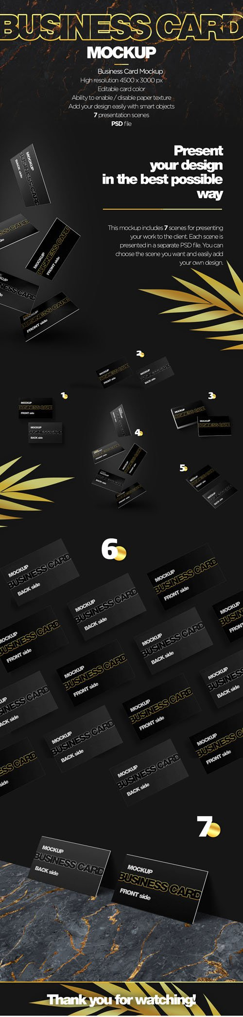 7 Scenes of Business Card PSD Mockups