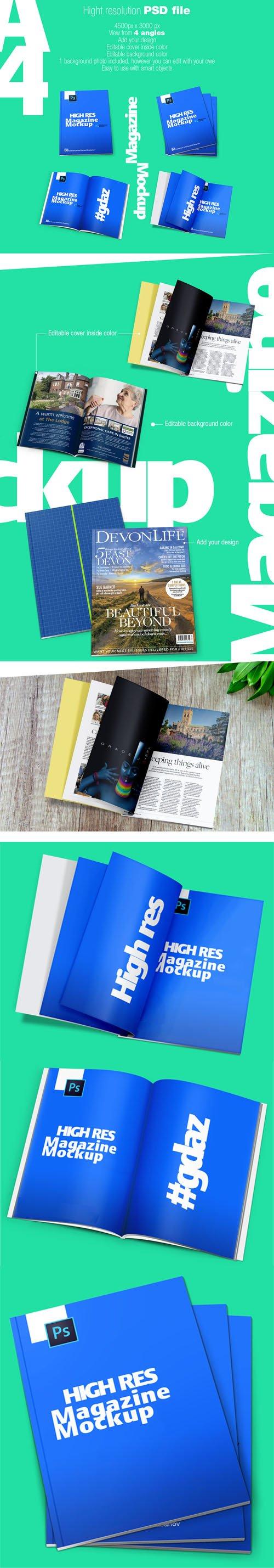 A4 Magazine PSD Mockups