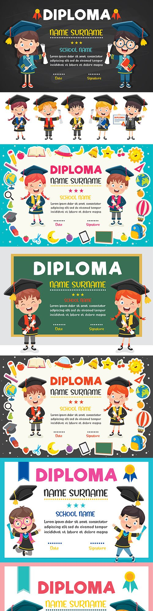Diploma certificate for preschool and primary school children template