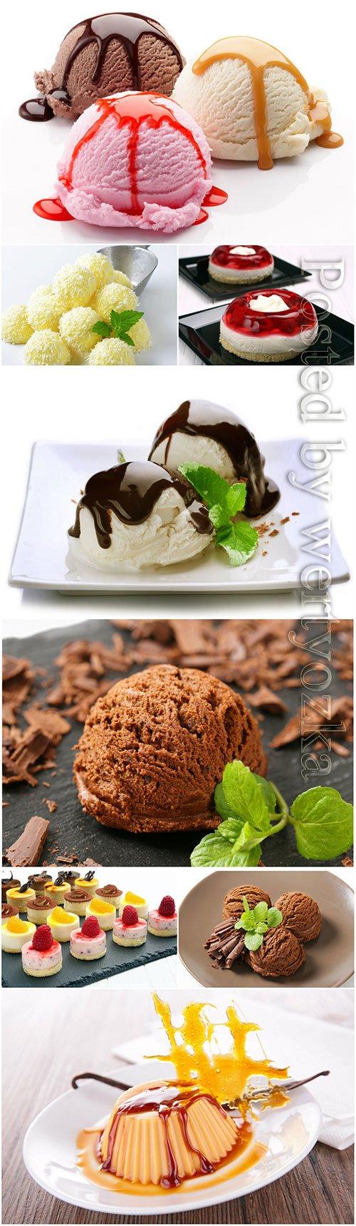 Delicious desserts, ice cream, cakes, sweets