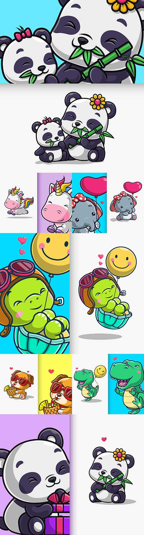 Cute Animals Mascot and Background Cartoon Character Illustration