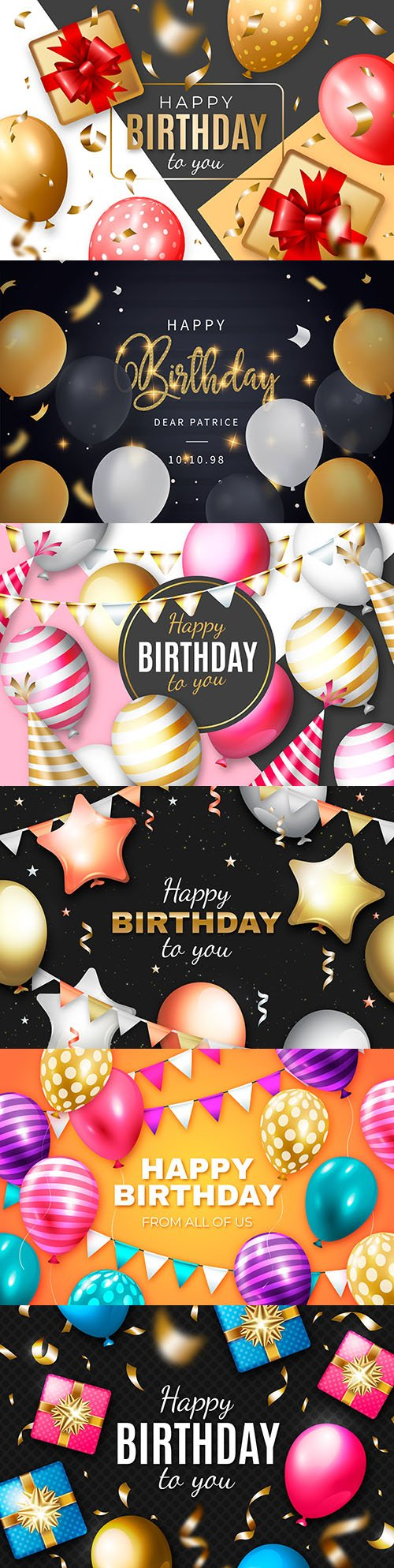Happy birthday holiday invitation realistic balloons 14
