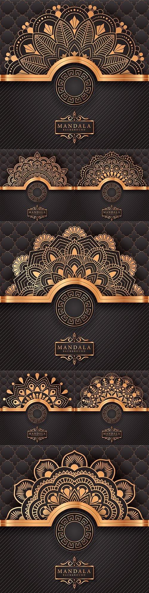 Mandala creative luxury gold design background 5