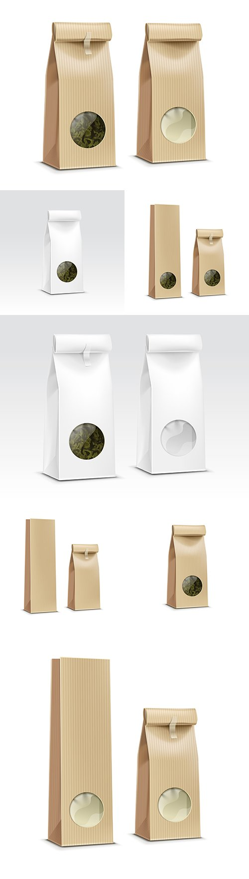 Paper packaging and bag with window tea and coffee design template